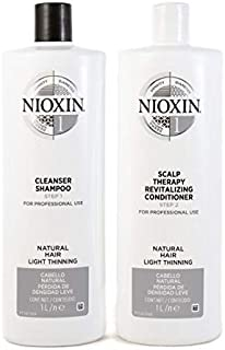 Nioxin System 1 Duo Pack, Cleanser 1L and Scalp Therapy Revitalising Conditioner 1L
