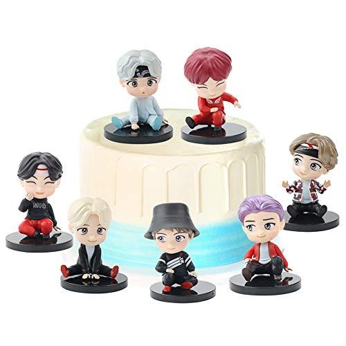 REYOKG BTS Figures Set 7 Stück Bangtan Boys Puppen Geburtstags Party liefert Cupcake Figuren Party Kuchen Dekoration Cake Topper Lieferungen Mini Shadow Tails Charaktere Figur Spielzeug