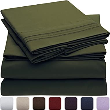 Mellanni Bed Sheet Set - HIGHEST QUALITY Brushed Microfiber 1800 Bedding - Wrinkle, Fade, Stain Resistant - Hypoallergenic - 4 Piece (King, Emerald Green)