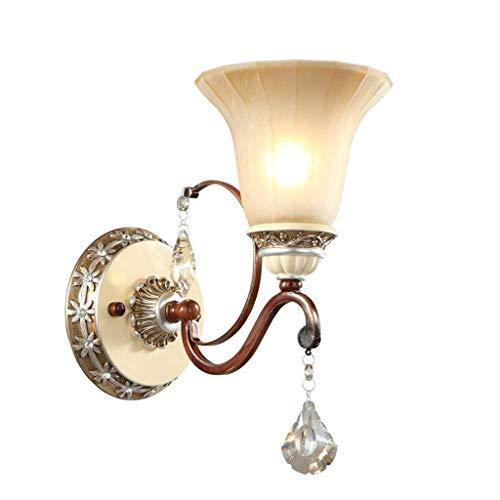 Iluminación de la pared lámpara de pared de cristal europeo lámpara de cabecera de hierro LED moderna, lámpara de pared de TV del dormitorio del pasillo de la sala de estar estadounidense(30x25, 5cm)