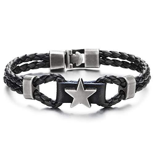 COOLSTEELANDBEYOND Herren Damen Zweireihige Schwarz Geflochtene Leder Armband mit Grau Stern Pentagramm Bettelarmband mit Charme