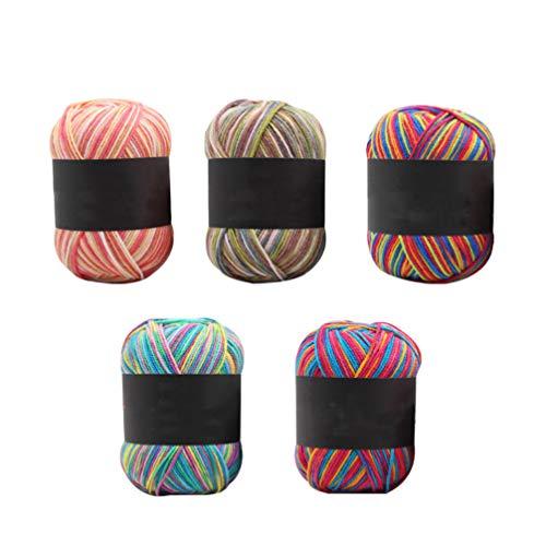 Healifty 5 Ovillos De Hilo De AlgodóN Hilo De Multicolor Para Tejer Ropa Suéter Sombreros A Mano DIY
