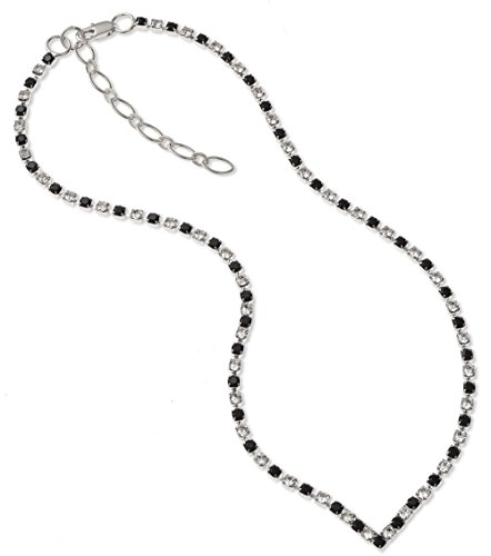 Stunning Crystal & Jet Diamante 'V' Necklace - Silver Finish - in Swarovski Crystal - Black Necklace - Swarovski Necklace - Ladies Present