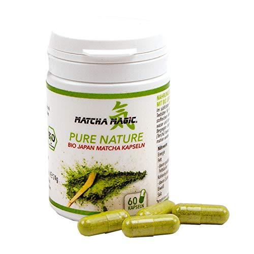 Matcha Magic Pure Nature   Bio-Matcha-Pulver aus Japan in veganen Kapseln   Nahrungsergänzung - ideal für unterwegs  Bio zertifiziert DE-ÖKO-022-60 Kapseln, 1x 24 g