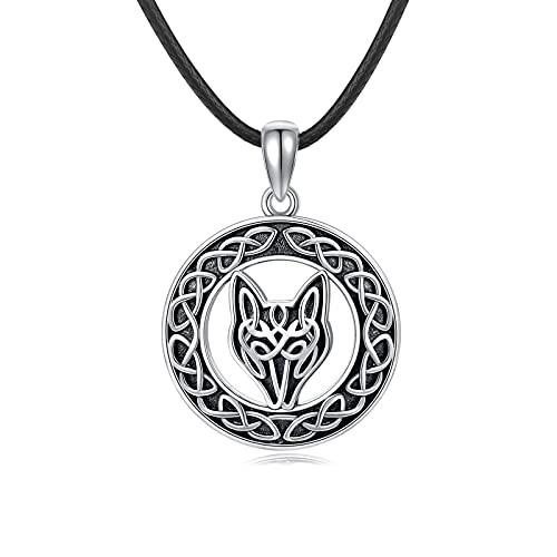 Collar de plata de ley 925 con diseño de lobo celta y nudo celta para hombre y mujer