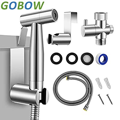GOBOW Handheld Toilet Bidet Sprayer with High Premium Stainless Steel, Anti-Leak and Anti-Proof, Cloth Diaper Sprayer Easy to Install and Great Hygiene with Adjustable Water Pressure