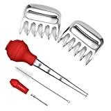 TIYOORTA 2pc Stainless Steel Meat Shredder Claws for BBQ, Shredding Handling & Carving Food, Claw Handler Set for Pulling Brisket from Grill Smoker or Slow Cooker, Turkey Baster Set of 4