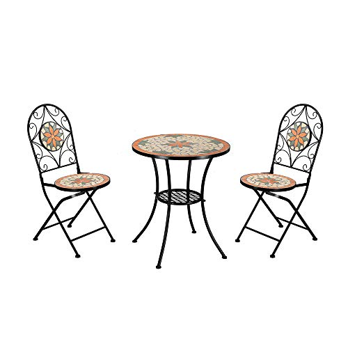 Heavy Duty & Durable Outdoor Mosaic Bistro Table Set Patio Pub Dining Folding Chair Weather Great for Swimming Pool, parlors, Bedrooms, Balconies, lawns, Backyards, Gardens (Desk 2 Chairs)