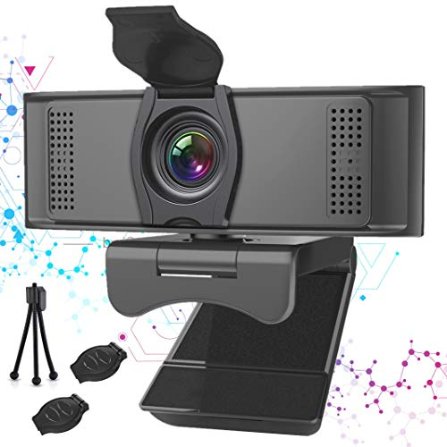 Full HD Webcam with Dual Microphone &Privacy Cover - AuGcGoGo 2K USB Computer Cameras with Cover Replacement & Webcam Tripod,Streaming Camera with Flexible Rotable Wide Angle for Desktop or Laptop