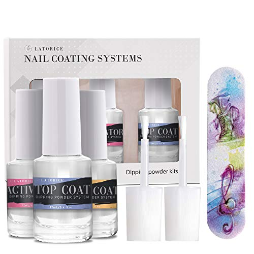 Latorice Dipping Powder Nail Top&Base Coat with Activator Set for Nail Art 12 ML, Without Lamp Cure holographic dipping nail powder Natural Dry Nail Art Decoration manicuring