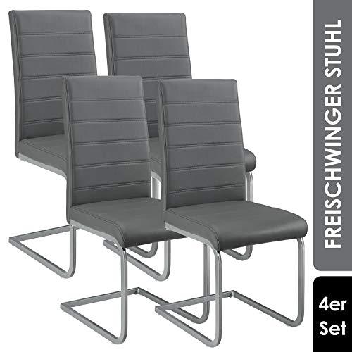 ArtLife Freischwinger Stuhl Vegas 4er Set | Kunstleder Bezug + Metall Gestell | 120 kg belastbar | grau | Esszimmerstühle Schwingstühle