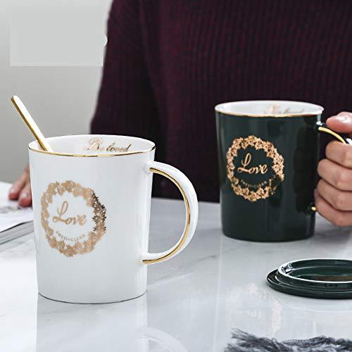 N/A Keramikbecherlöffel mit Deckel Geschenkbox Frühstück Milch Kaffeetasse Geschenkbecher, schwarz