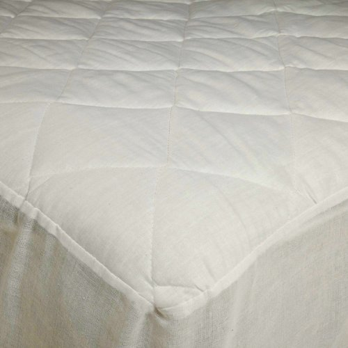 "Adorable USA Made Mattress Pad with 16"" Drop Skirt, Poly Cotton, Stitched Quilting, Twin Size"
