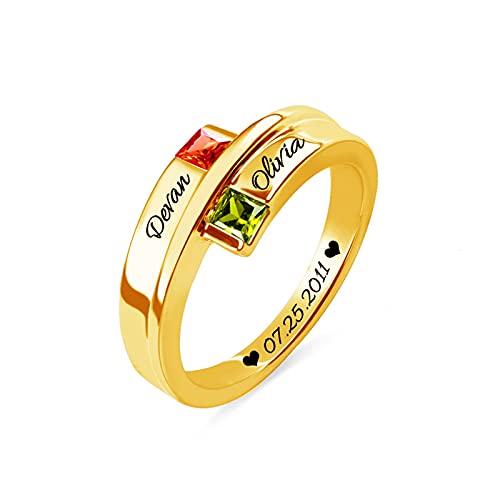 Anillo de piedra natal cuadrado personalizado, anillo de nombre, anillo de compromiso de plata para mujer, boda, cumpleaños(Oro 15.75)