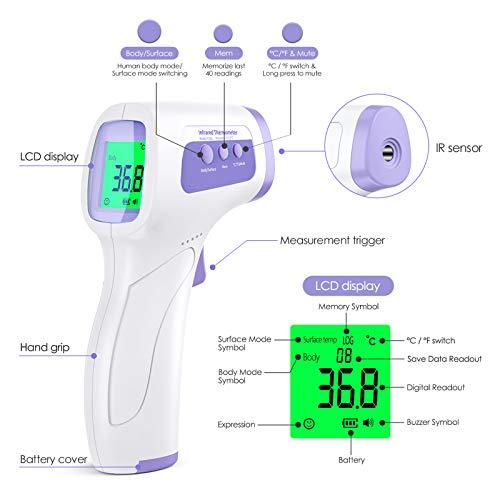 KKmier Termometro Professionale Febbre Infrarossi, Termometro Frontale Digitale per Misurazione Temperatura Corporea, Termoscanner per Febbre per Neonati, Bambini, Adulti