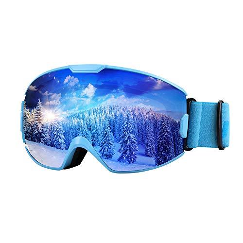 Premium Skibrille, Snowboardbrille Schneebrille OTG 100% UV-Schutz mit Rahmen Anti-Nebel, helmkompatible Ski Goggles für Damen und Herren/Jungen und Mädchen (Kinder, Blau VLT18%)