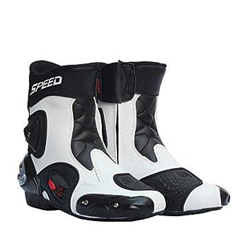 Wensa Bottes de Moto Speed Biker, Bottes Motocross, Antidérapants Chaussures Moto Hommes Chaussures Souples imperméables,C,43