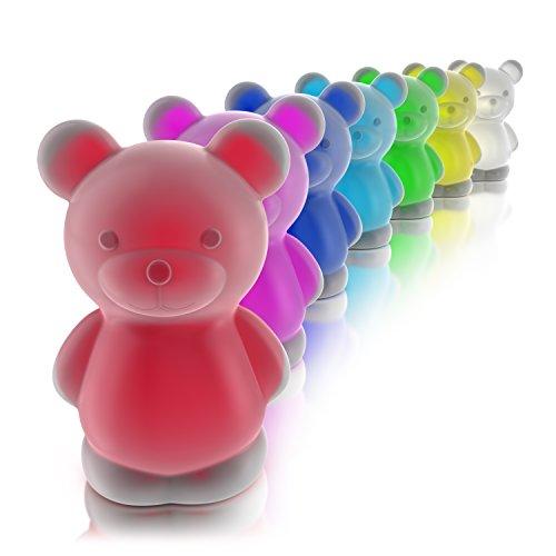 MyBeo - LED bunt leuchtendes Teddy Nachtlicht - Stimmungslicht und Orientierungslicht Schlummerlampe - Kinder Schlaflicht - LED-Nachtlampe - 4 Lichtmodi - rot grün blau oder RGB Farbwechsel - BPA Frei