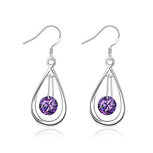 TIANYOU Novedad Joyas de plata plateadas Pendientes de aro Pendientes de lágrima abierto de color púrpura con cristal colgador