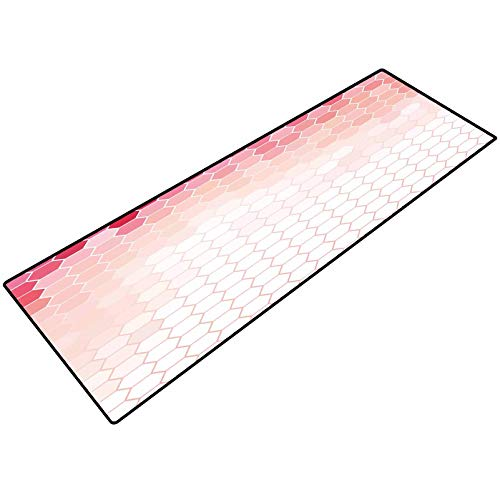 Light Pink Indoor/Outdoor Area Rug Hexagon Forms Linked Abstract Beehive Gradient Toned Creative Image Floor Rugs for Shower Bath tub 20x32 Inch