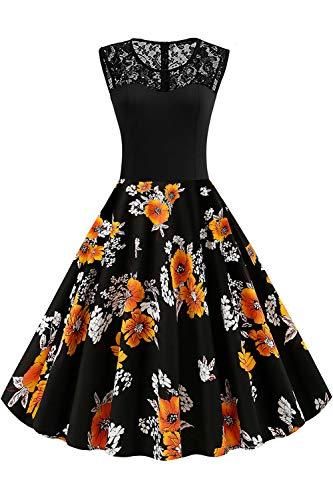 Axoe Damen 50er Jahre Rockabilly Kleid mit Blumenmuster Ärmellos, Farbe07, XXXXL (50 EU)