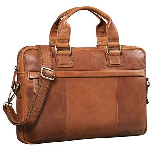STILORD 'Andrew' Vintage Business Ledertasche Klassische Aktentasche für Herren und Damen 13,3 Zoll Laptoptasche für Arbeit Büro Aufsteckbar, Farbe:girona - braun
