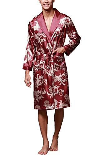 Westkun Herren Morgenmantel Kimono Bademantel Satin Lang Nachtwäsche Robe Gedruckt Strickjacke Japanische Pyjamas Nachtwäsche V Ausschnitt mit Taschen und Gürtel(Rot,L)
