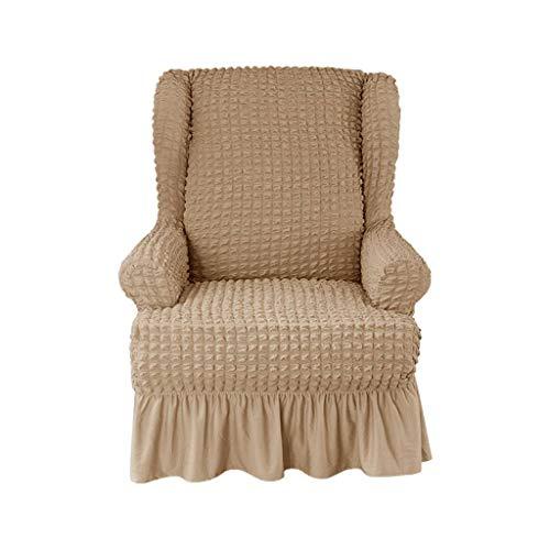 HKPLDE Sesselbezug 1-Stück Weich Sesselhusse Abwaschbar Mit Rock Elegante Rüsche, Hohe Elastische Husse Für Ohrensessel Strapazier Sofaschoner-Hafer