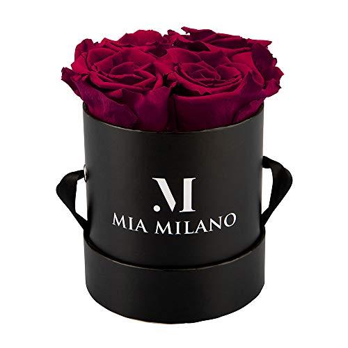 Mia Milano Rosenbox mit 4 Infinity Rosen | Flowerbox (Geschenkbox zum Muttertag) konservierte Blumen 3 Jahre haltbar (Medium Schwarz - Bordeaux)