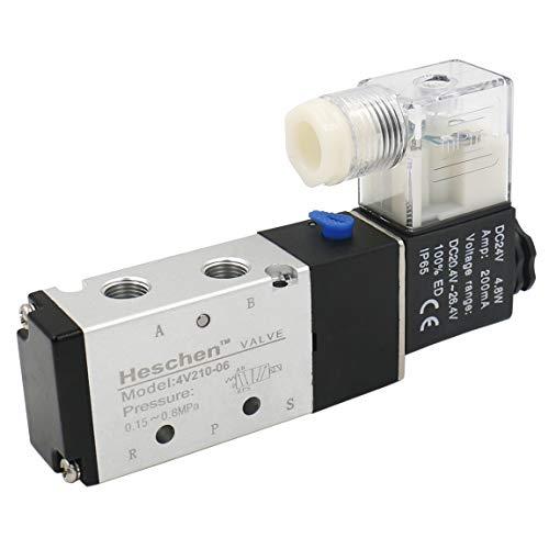 Heschen Electroválvula neumática eléctrica 4V210-06 DC 24V PT 1/8 5 vías 2 posiciones