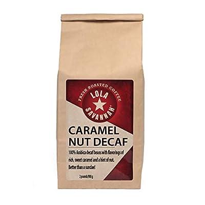Lola Savannah Caramel Nut Ground Coffee - Sweet Creamy Carmel & Nuts Transform This Coffee into a Decadent Dessert | Decaf | 2lb Bag