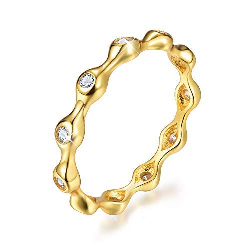 Anillo apilable de plata de ley 925 chapado en oro de 18 quilates con circonita cúbica y diamantes de imitación de eternidad, anillos de compromiso para mujeres y niñas