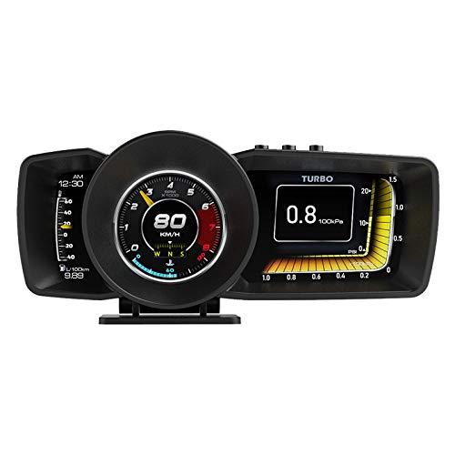 Mallofusa Car HUD Display, AP7 OBD2+GPS Smart Gauge HUD HD Head Up 3 LCD Screen Display Adjustable Bracket, Speed KM/H RPM Voltage Car Digital Speedometer for All Cars with OBD Interface