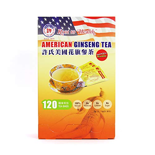 Hsu's Ginseng SKU 1032 | American Ginseng Tea, 120ct | Cultivated Wisconsin American Ginseng Direct from Hsu's Ginseng Gardens | 许氏花旗参 | 120ct Box,西洋参, B0071M7O9A