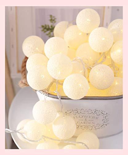 2.2M 20LED Guirnalda de bolas de algodón Cadena de luces Navidad al aire libre Fiesta de bodas Luces de hadas, blanco cálido, por batería