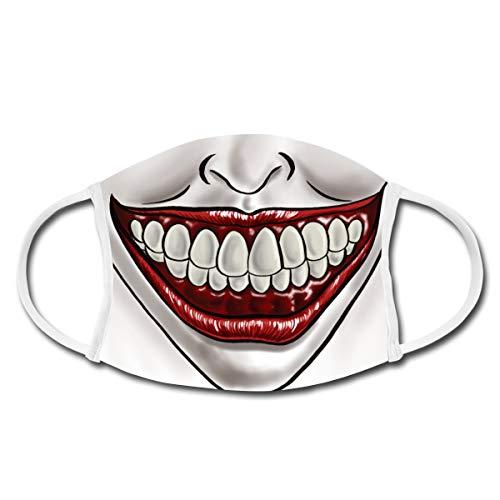 Spreadshirt Lächeln Clown Smile Mund-Nasen-Bedeckung, Weiß
