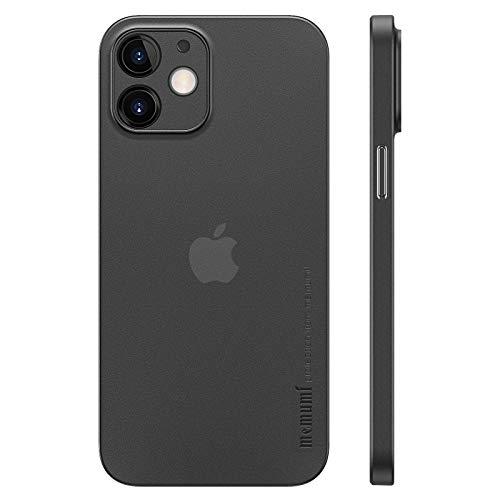 memumi Funda para iPhone 12 Mini Ultra Delgado Revestimiento Mate [Ultrafino 0.3mm] Anti-arañazos y Sin Huella Digital Protector Carcasa para iPhone 12 Mini Case Slim Negro Translúcido