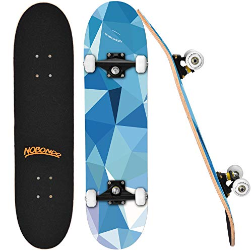 """NOBONDO Standard Skateboards for Beginners - 31"""" x 8"""" Complete Pro Skateboard for Girls and Boys, 7 Layer Canadian Maple Double Kick Concave Trick Skate Board with Repair Kit for Kids and Adults"""