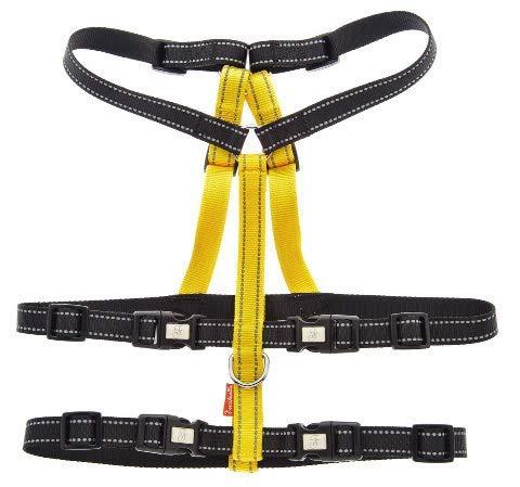 Riem tegen lekken - maat S tweekleurig zwart en geel - nylon band 4 sluitingen
