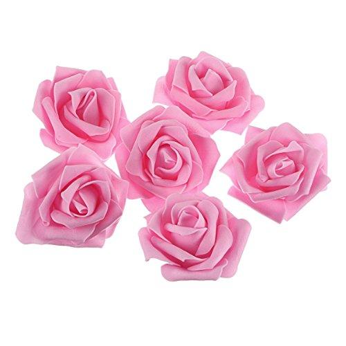 Pixnor Lot de 50 roses artificielles en mousse Rose