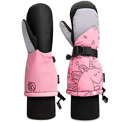 OutdoorMaster Kids Ski Gloves, Kids Ski Mittens Long Cuff Waterproof Winter Gloves, Snow Gloves for Children Girls and Boys Skiing, Snowboarding - Unicorn - XS