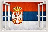 Unified Distribution Serbien Flagge rot blau weiß - Wandtattoo mit 3D Effekt, Aufkleber für Wände & Türen Größe: 92x61 cm, Stil: Fenster