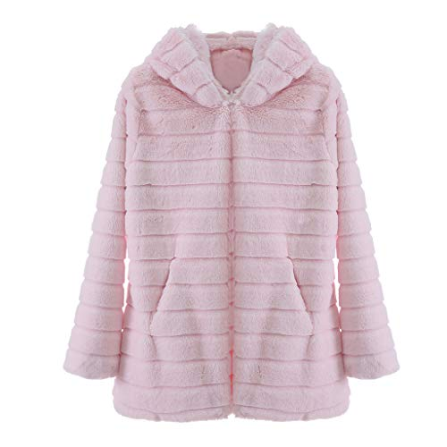 HFStorry Women's Autumn and Winter Warm Long-Sleeved Plush Faux Fur Mid-Length Hooded Jacket Jacket Pink
