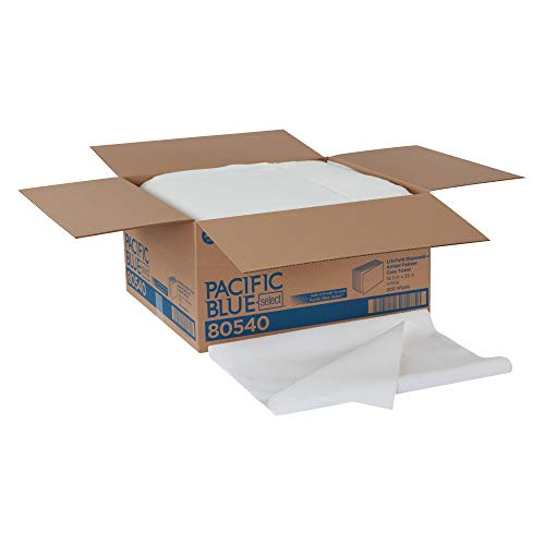 Pacific Blue Select A300 Disposable Patient Care Bath Towel by GP PRO (Georgia-Pacific), 1/2-Fold, White, 80540, 1 Box of 200 Towels