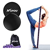 KUYOU Resistance Bands and Exercise Sliders Fitness Kit, Professional Gliding Discs Core Sliders for...