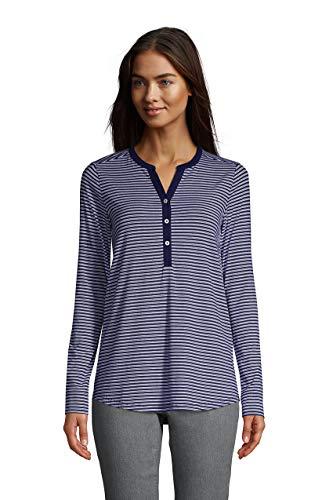 Lands' End Women's Plus LS Button Cuff Tunic Deep Sea/white Stripe Plus 2x