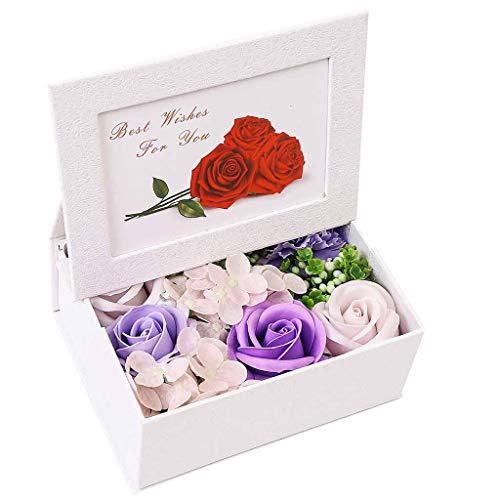 Meilily Kunstblumen Rose Seife Blume in Geschenk-Box mit Fotorahmenbox, Rosen-Duftseifen Rosenduft Badeseife Rose in Geschenkbox Hochzeit/Geburtstags/Valentinstag/Thanksgiving/Weihnachten