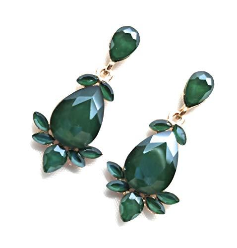 Pendientes largos mujer colores brillantes cristales facetados fiesta boda evento, verde