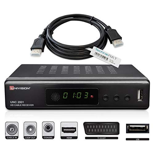Univision digitaler Kabel Receiver DVB-C / C2 mit Aufnahmefunktion PVR und Timeshift für alle Kabel-Anbieter mit HDMI | SCART | USB | Auto- Installation | Mediaplayer | 1080p | MKV, ✔ inkl. hdmi-kabel