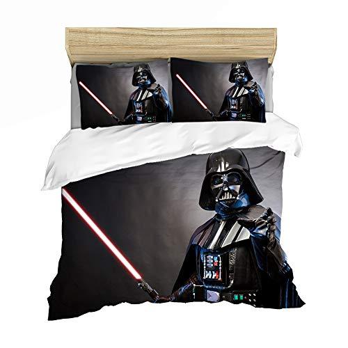GDGM Juego de ropa de cama de Star Wars, funda nórdica de 155 x 220 cm, funda de almohada de 75 x 50 cm, algodón reforzado, para niños (2 piezas) (A04,155 x 220 cm)